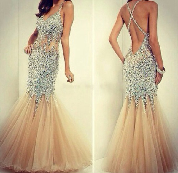 sequin dress prom dress open back prom dress dress