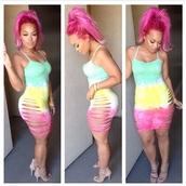 dress,tie dye,cut-out,multicolor,bodycon,bodycon dress,cami,cami dress