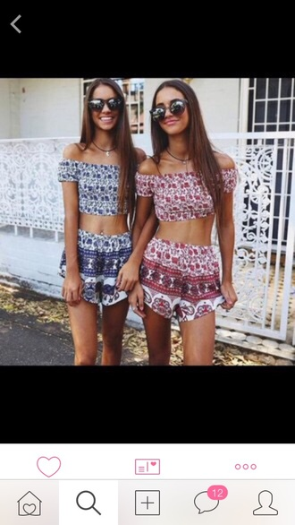 top shorts crop tops outfit summer top summer shorts style romper two piece dress set blue red
