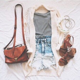 cardigan white crochet striped top shorts