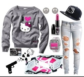 sweater,hello kitty,shoes,pants,helios kitty,jeans,hat,jewelry,shirt