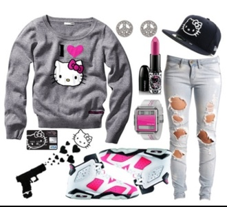sweater hello kitty shoes pants helios kitty jeans hat jewelry shirt