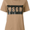 Msgm - logo print t-shirt - women - cotton - m, brown, cotton