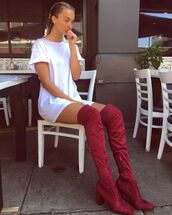 shoes,tumblr,tumblr outfit,tumblr girl,boots,burgundy boots,high heels boots,over the knee boots,over the knee,white dress,shirt dress,boxer braid,braid,short sleeve dress,short sleeve,casual,casual dress
