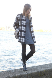 styling my life,blogger,flannel,winter outfits,grey dress,black boots,winter coat