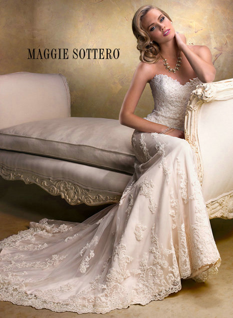 Cheap wedding dress - Style Maggie Sottero Emma Lace And Tulle sweetheart neckline [Maggie-Sottero-Emma] - $322.00 wedding dress
