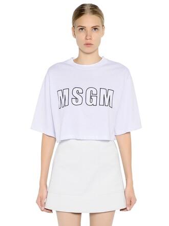 t-shirt shirt cropped cotton print white top