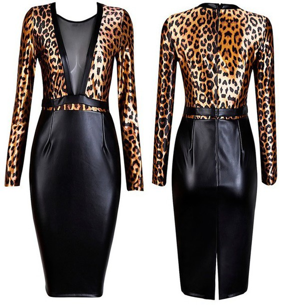 e3dd931637ff dress dream it wear it animal print long sleeves long sleeve dress faux  leather faux leather