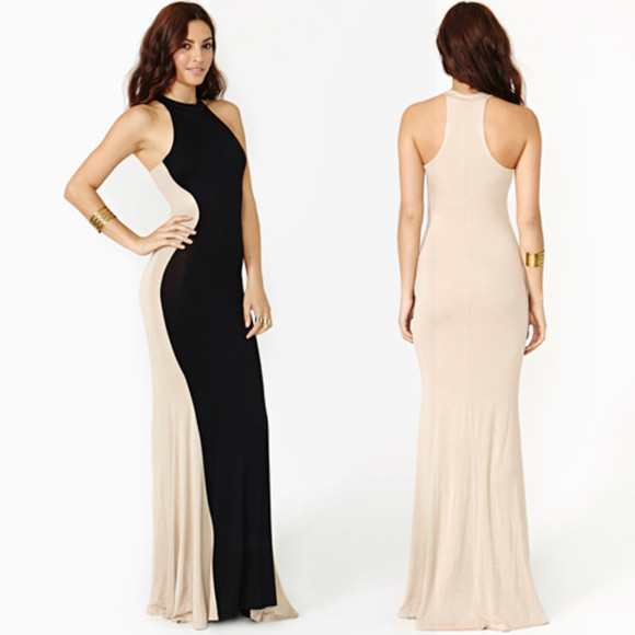 color block black nude clothes maxi dress long dress