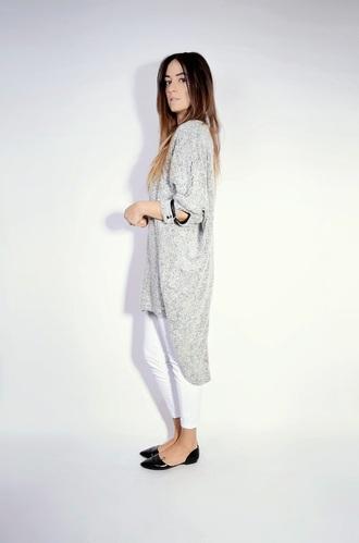 quality rivets blogger oversized shirt dress flats white pants
