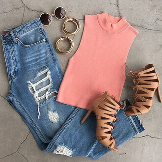 top ribbed top blush pink jeans destroyed boyfriend jeans boyfriend jeans pants sunglasses gojane