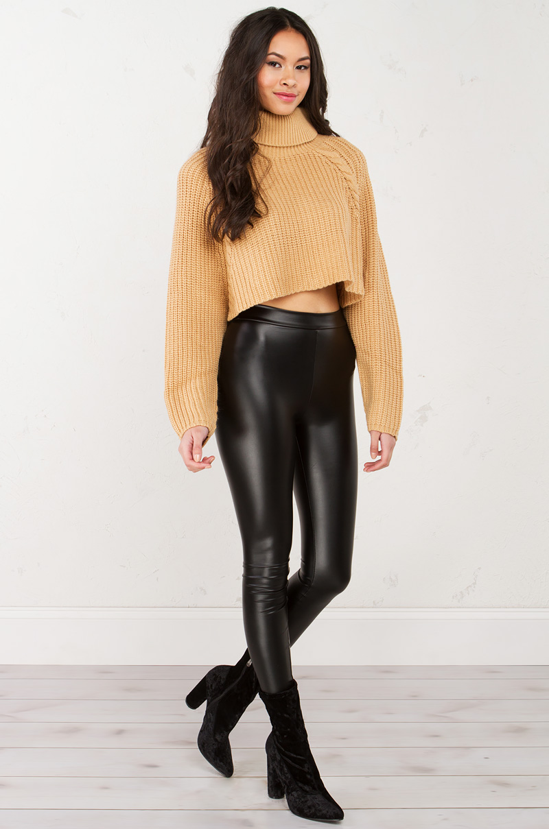 Turtleneck Crop Sweater in Mocha, Grey and Black