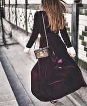 dress,tumblr,purple dress,purple,long dress,maxi dress,long sleeves,long sleeve dress,bag,boxed bag,louis vuitton,louis vuitton bag,velvet,velvet dress