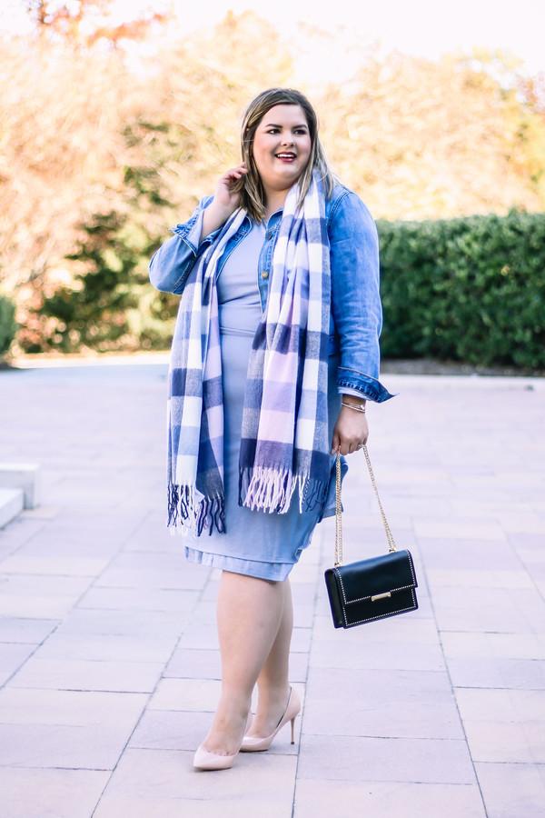 stylishsassy&classy blogger dress scarf jacket shoes bag blue dress curvy plus size dress denim jacket pumps fall outfits