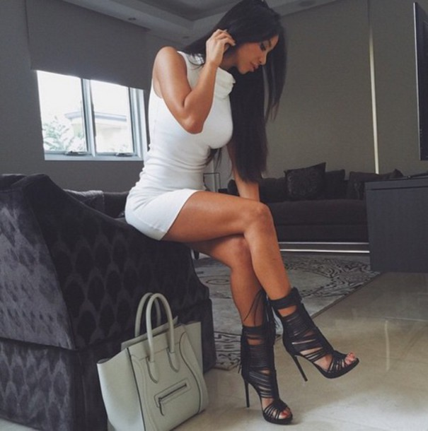black heels strappy heels shoes dress black shoes white high neck dress bag