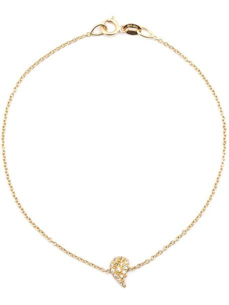 Loree Rodkin heart women charm bracelet gold yellow grey metallic jewels
