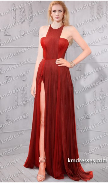 geometric neck thigh-high slit fully pleated gown Inspired by Blake Lively at Cannes Film Festival 2014