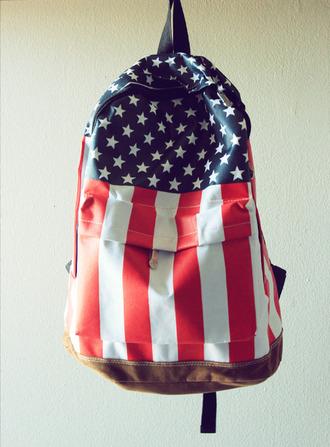 bag patriotic backpack american flag leather backpack us flag america american patriotism flag usa stars
