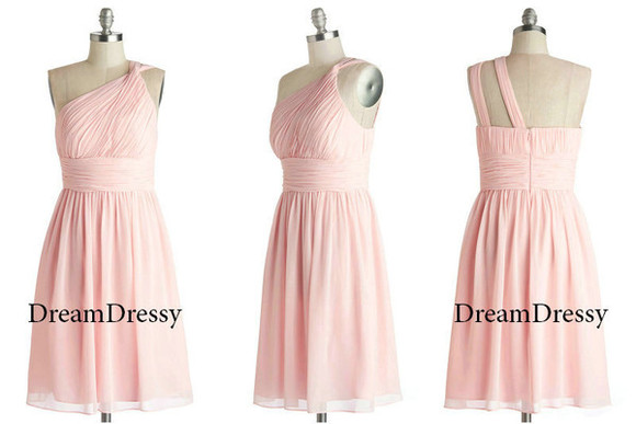 pink dress bridesmaid dress one-shoulder bridesmaid dress