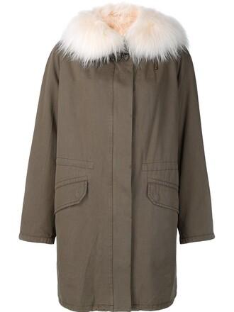 coat parka fur fox women green