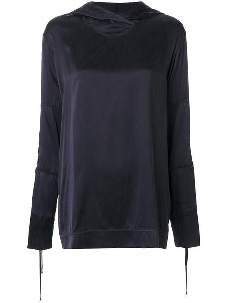 Lost & Found Ria Dunn - classic hoodie - women - Silk/Spandex/Elastane - L, Black, Silk/Spandex/Elastane