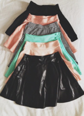 pink skirt,green skirt,black skirt,stripes,striped skirt,midi skirt,leather skirt,nude skirt