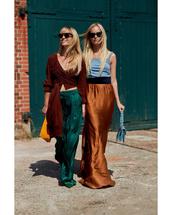 top,crop tops,wide-leg pants,sunglasses,handbag,tank top,maxi skirt,silk