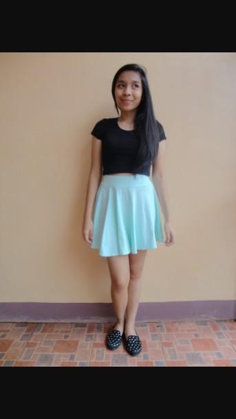 skirt skater skirt black crop top shirt