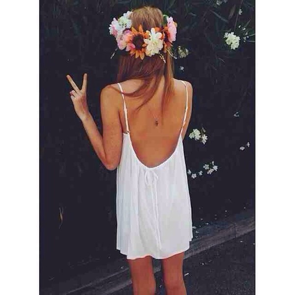 dress white dress flower crown cover up white white open back dress open back dresses open back open back dresses short summer dress summer dress backless dress backless white dress sexy dress sexy cute dress cute flower crown flower crown flower garter flower hairband vintage girly swag swag swag swag jewels hair accessory low back dress beach dress flowy dress thin strap loose dress overall dress blouse