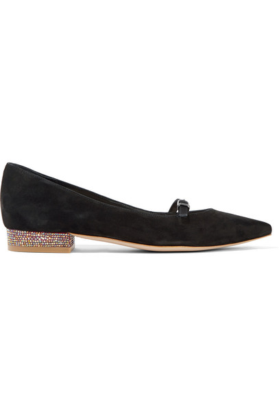 Sophia Webster embellished flats suede black shoes