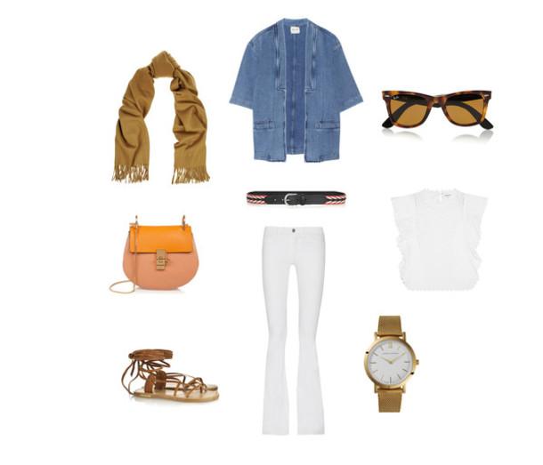 clochet blogger white top denim shirt white pants outfit scarf jeans jacket sunglasses belt bag top shoes