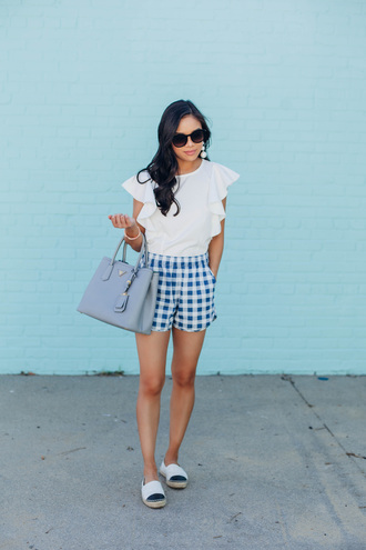 shorts blue shorts top tumblr gingham white top bag blue bag espadrilles chanel espadrilles sunglasses shoes