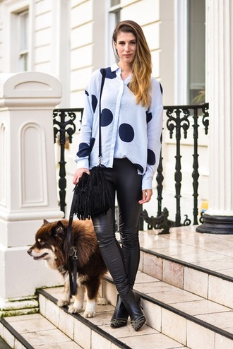 thank fifi blogger blouse polka dots leather leggings