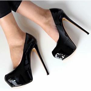 Black Platform Heels Patent Leather Dress Shoes Stiletto Heels Pumps
