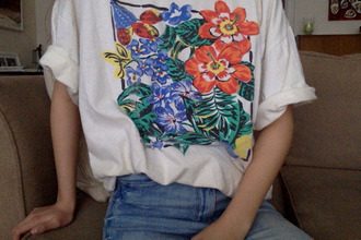 shirt top floral spring white colorful t-shirt tees summer hipster indie boho 80s style grunge tumblr outfit coral design art blue green 2015 cute oversized tumblr outfit flowers boho shirt hispter love aesthetic tropical floral shirt clothes floral t shirt plants vintage 90s style white top white t-shirt short sleeve flower shirt cute top cute shirt art-fashion pinterest painting oversized t-shirt blouse wit&delight blogger