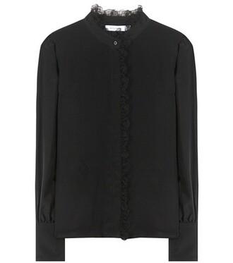blouse lace silk black top