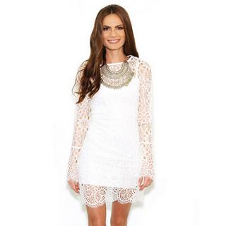 White Spaghetti Straps Mini Dress With Lace Surcoat_18.92