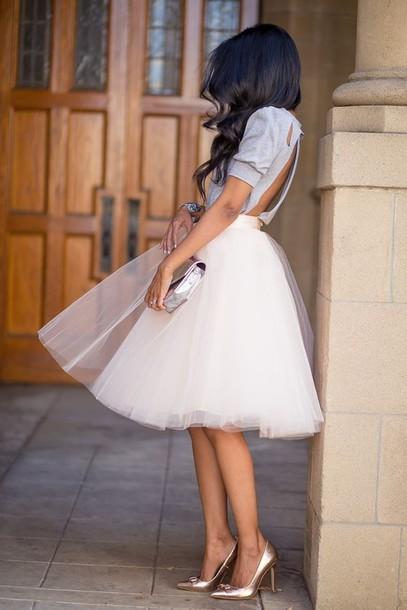 Skirt: tulle skirt, t-shirt - Wheretoget