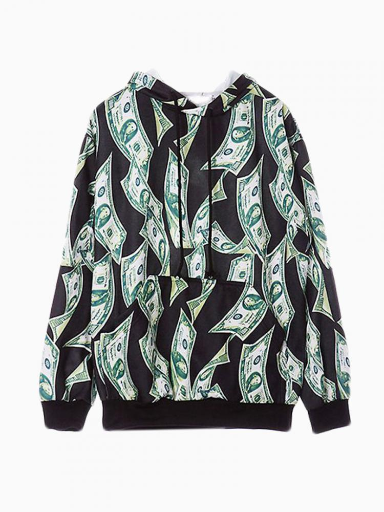 Dollar printed oversize crew sweatershirt