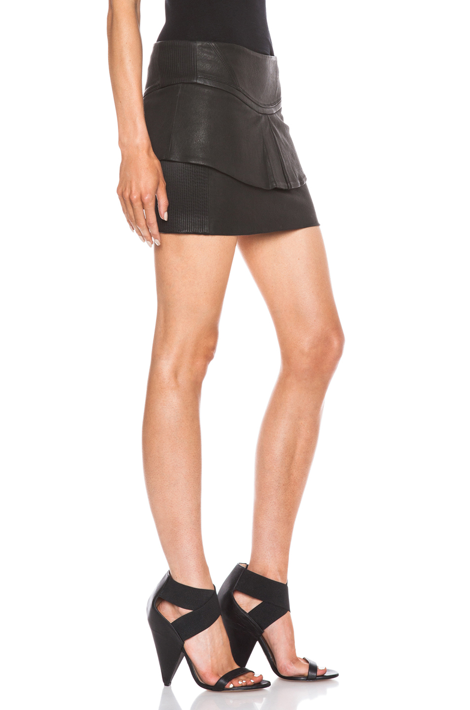 iro jeanne leather skirt in black