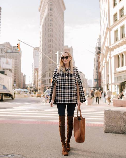 jacket tumblr plaid cape boots suede suede boots over the knee boots bag brown bag sunglasses denim