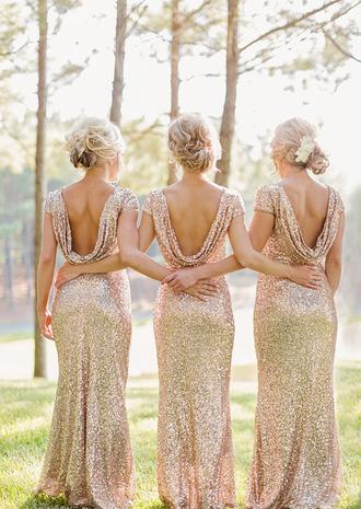 dress bridesmaid gold sequin dress