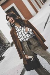 shoes and basics,blogger,jacket,shirt,pants,bag,handbag,brown coat,fall outfits