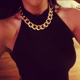 top black gold gold chain sleveless sleeveless top highneck all black kim kardashian jewels necklace chain chain necklace gold necklace gold jewelry