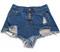 Burr hole fringed denim shorts