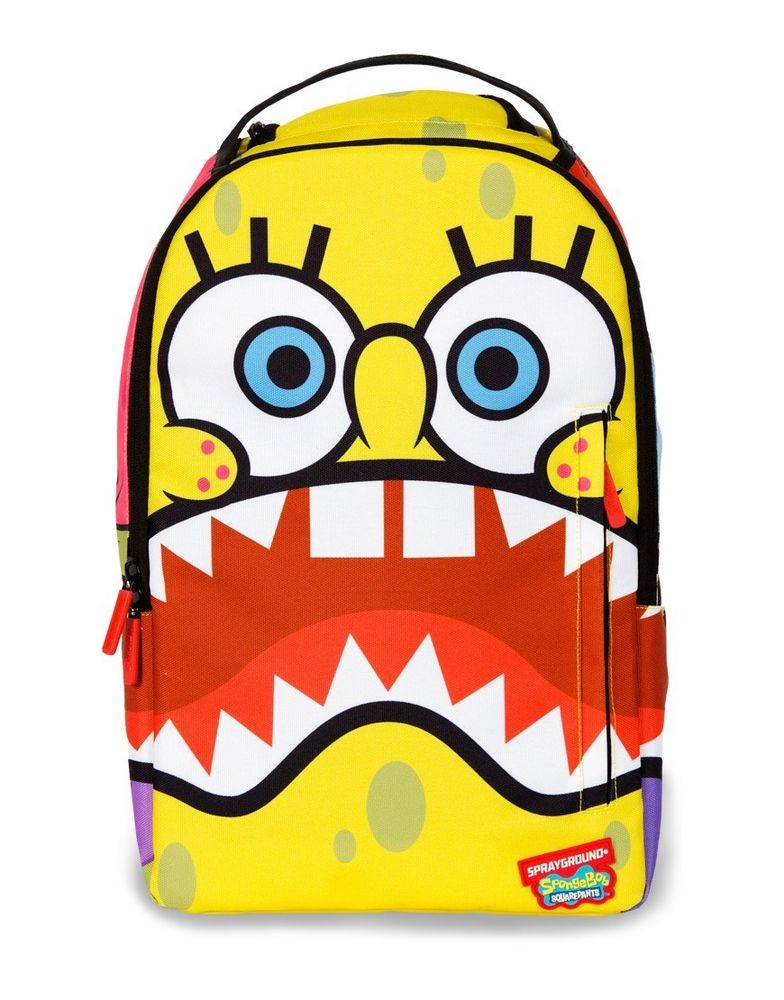 SPRAYGROUND SPONGEBOB SHARKPANTS SQUAREPANTS BIG MOUTH LAPTOP BOOK BAG BACKPACK
