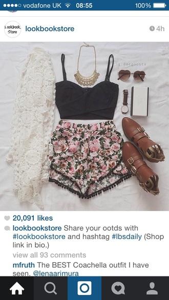 shorts flower shorts festival crochet bralette black bralette lace cardigan top jewels cardigan sunglasses shoes