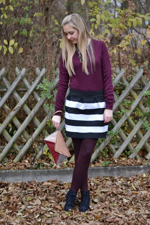 High Waist Striped Skirt - OASAP.com