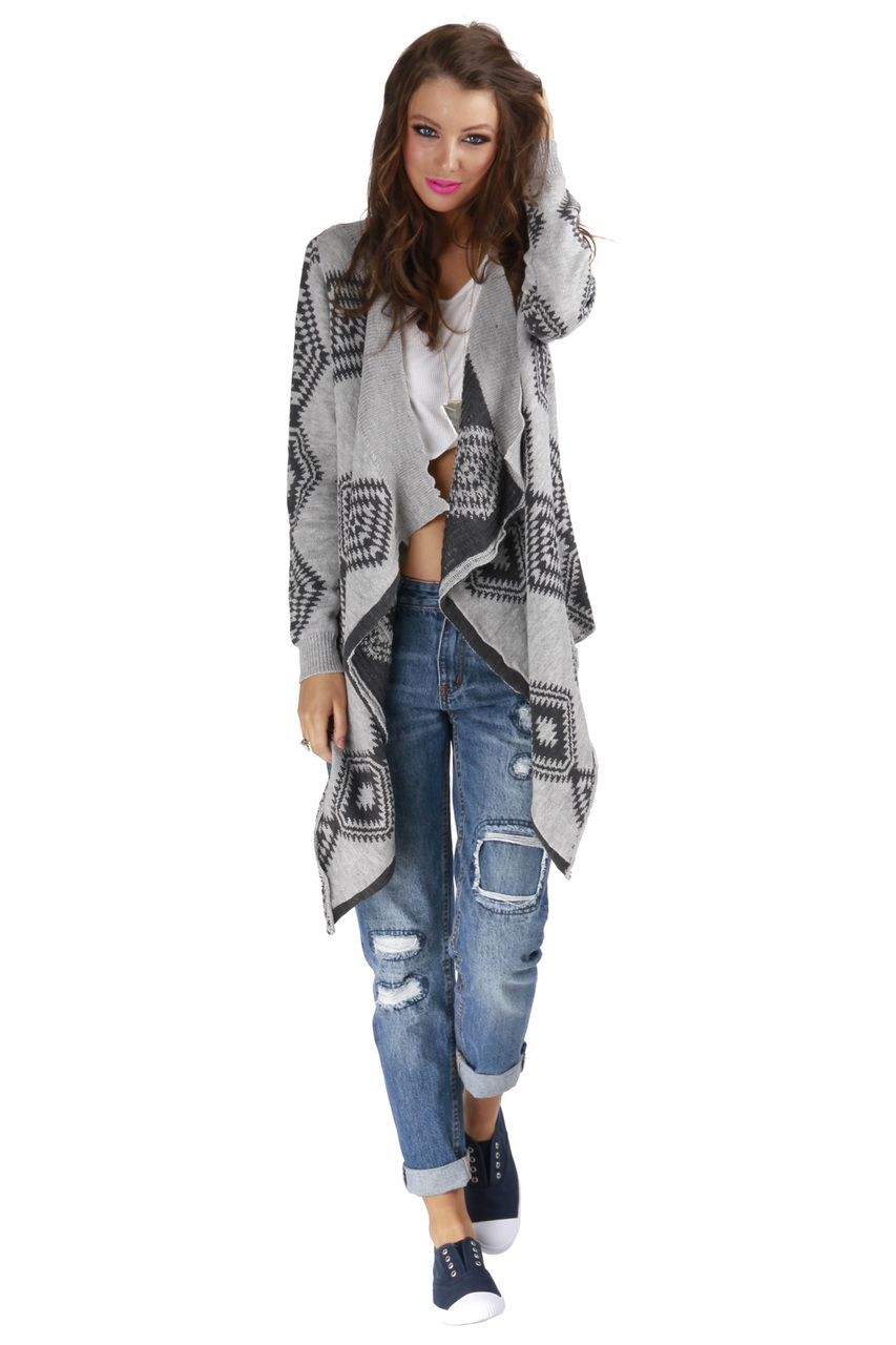 Gray and Black Aztec Print Waterfall Cardigan