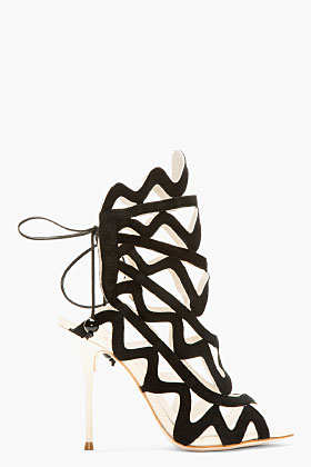 Sophia Webster Black Suede Mila Cage Heels for women | SSENSE